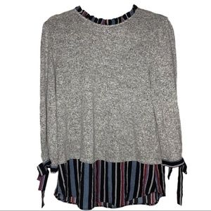 Monteau blouse - 3/4 Sleeve Heather Gray Striped